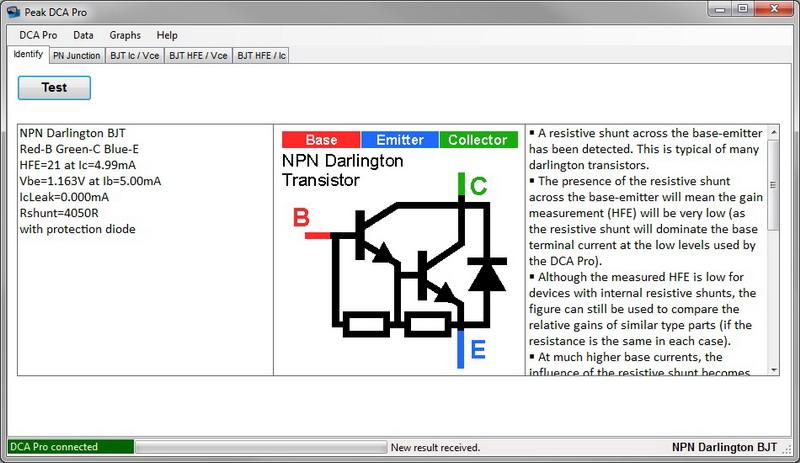 TIP121 Darlington with internal resistors and diode